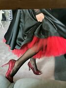 Double Circle Christmas New Years Skirt Black/red Flower Tulle 50's Style Satin