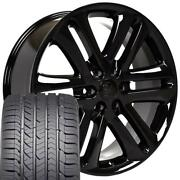 22 3918 Wheels Fit Ford F150 Expedition Black W/ Gy Eagle As Tires