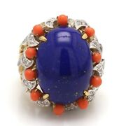 18k Two Tone Gold, Lapis, Coral, And Diamond Cocktail Ring - Sz. 5