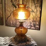 Vintage Lamp Amber Glass Gone With The Wind Table Lamp, 22 T Hurricane Boudoir