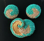 Vintage Miriam Haskell Brooch And Earrings Set-beads/pearls/crystals/gold Tone