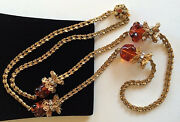 Glitzy Vintage Miriam Haskell Necklaceamber Art Glass/rs/filigree/goldtone