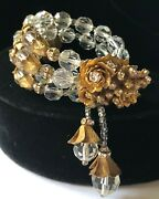 Vintage Miriam Haskell Coil Braceletclear Crystals/rs/filigree/gold Tonesigned