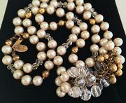 Opera Length 28 Vintage Miriam Haskell Swag Necklace Pearls/gold/crystal Beads