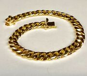 10kt Solid Yellow Gold Handmade Curb Link Mens Chain/bracelet 8.5 37 Grms 8.5mm