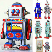 Vintage Retro Classic Tin Wind Up Clockwork Walking Moving Robot Space Toy Gift