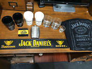 Lot Of 15 Jack Daniels Items Tennessee Honey Rubber Bar Mat, Flask, Cups And Polo