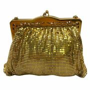 Whiting And Davis Vintage Gold Mesh Mini Evening Clutch Bag