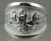 Us Navy Licensed Submarine Dolphin Regulation Ring Solid .925 Sterling Size 12.5
