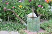 Antique Early 20thc Green Paint Tin And Copper Gooseneck Watering Can Signed L B