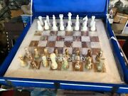 20x20 Onyx Marble Beautiful Chess Board Set With Pieces Anniversary Gifts H013