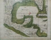 Incredible Rare Antique 1762 German Map Of The Gulf Of Mexico Incl. Florida