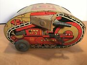Vintage 1930s Marx Roll Over Tank Army 3 Tin Toy