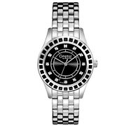 Caravelle By Bulova Womens Stainless Steel Watch, Black Dial, Glitz Crystals