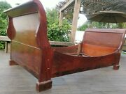 Antique Mahogany Sleigh Bed - Early 19th Century Empire Period