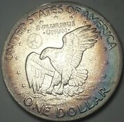 1971-s Eisenhower Ike Dollar Silver Toned Bu Unc Color Flawless Dr