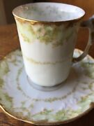 Antique Limoges Demitasse Cup And Saucer Red Elite Mark 1896-1900 Sm Rough Edge