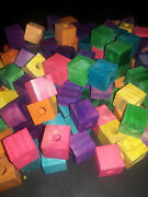 25 Med Scratch And Dent 1x1'' Wood Blocks 3/8'' Hole Bird Toys- Bird Toy Parts