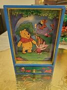 Rare Winnie The Pooh And Piglet Dancing Animated Music Jewelry Box W/drawer