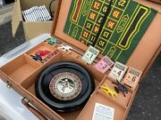 Vintage E.s. Lowe 8 Portable Roulette Wheel With Case And Green Felt Mat Xtra