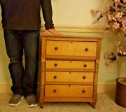 Antique Tiger/curly Maple Bachelorand039s Chest Dovetail Locking Drawers
