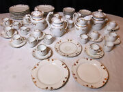 Large Coffee Service And Dessert 19th Porcelain From Paris White And Gold