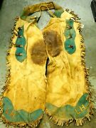 Vintage Cowboy Worn Fringe Leather Bat Wing Dude Ranch Saddle Stained Chaps