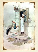 Coolest Garage Ideas Cream Of Wheat 1917 Cereal Ad Chef Bird Baby Metal Tin Sign