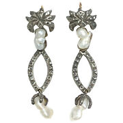 Georgian Antique Pearl And Rose Cut Diamond Silver-topped Gold Ear Pendants
