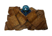 Antique Carved Wood Books Large Inkstand Inkwell 19th Century Folk Art Chicago