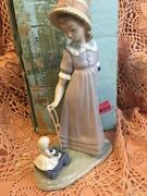 Lladro 5044 Pulling Dolls Carriage Retired Original Blue Box Mint Condition