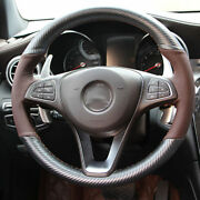 Hand Sewing Top Leather Carbon Fiber Steering Wheel Cover For Benz C300 B200