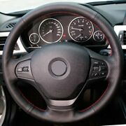Black Leather Red Blue Thread Car Steering Wheel Cover For Bmw F30 316i 320i