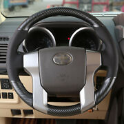Hand Sewing Top Leather Carbon Fiber Steering Wheel Cover For Toyota Prado