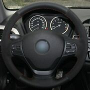 Black Leather Black Suede Car Steering Wheel Cover For For Bmw F87 M2 F80 M3 M5