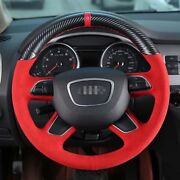 Hand Sewing Top Leather Carbon Fiber Steering Wheel Cover For Audi A4 A6 Q7