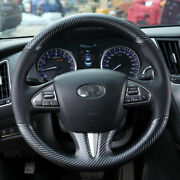 Hand Sewing Top Leather Carbon Fiber Steering Wheel Cover For Infiniti Q50