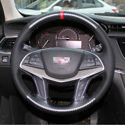 Hand Sewing Top Leather Carbon Fiber Steering Wheel Coverfor Cadillac Srx Xts