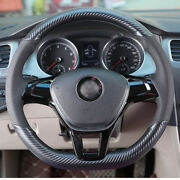 Hand Sewing Top Leather Carbon Fiber Steering Wheel Cover For Vw Golf 7 Polo