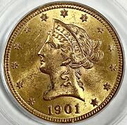 1901 United States 10 Gold Liberty - Ogh - Pcgs Ms62