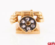 Vintage Solid 14k 585 Yellow Gold Rotary Phone Charm Pendant Moving Parts