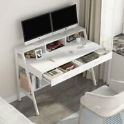 Tribesigns Computer Desk With Storage Shelfand Drawers Black White Study Table 47