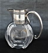Antique Crystal Water Pitcher Sterling Silver Lid Handle Heath And Huskin London