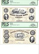 Tioga Pa- Tioga County Bank 1/2 Special Proof Pcgs Gem New 66ppq- 2 Notes