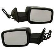 09-12 Ram Truck Mirror Power Heated Chrome With Turn Signal Puddle Lamp Set Pair