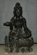 36 Old Antique Chinese Purple Bronze Kwan-yin Guan Yin Goddess Lotus Sculpture