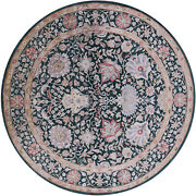 8and039 Round Wool And Silk Hand Knotted Rug - Q5966