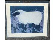 Black Face Sheep With Bird By Suzanne Ring Caplan 28 X 33