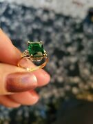 2.50 Ct Russian Emerald And 2pcs Diamond 10kt Solid Yellow Gold Ring Size 7