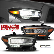 For Alpharex 2016-2020 Toyota Tacoma Led Sequential Signal Headlights Jet Black